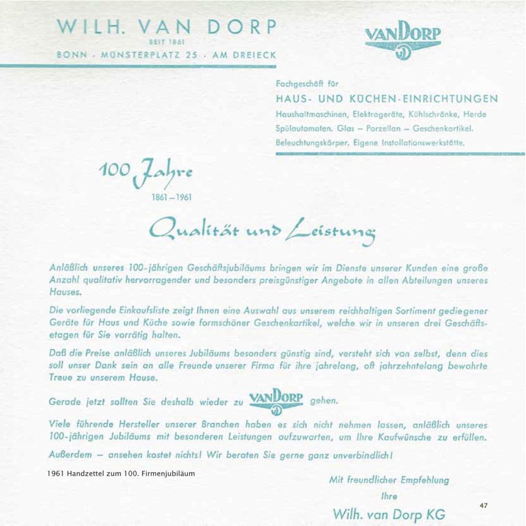 Einrichtungshaus vanDorp Bonn Geschichte 100 Jahre Handzettel