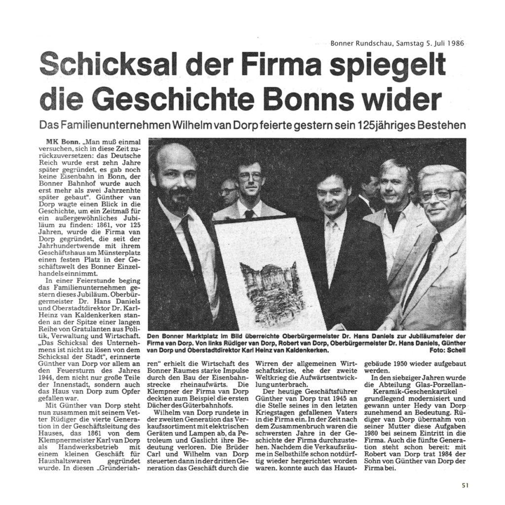 Einrichtungshaus vanDorp Bonn Geschichte 125 Jahre Zeitungsartikel