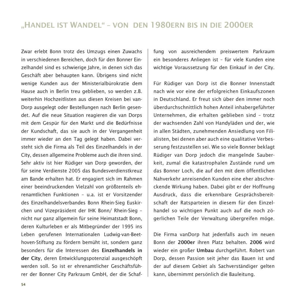 Einrichtungshaus vanDorp Bonn Geschichte 1980er bis 2000er